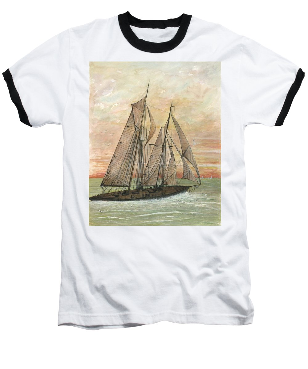Sailboat; Ocean; Sunset Baseball T-Shirt featuring the painting Out To Sea by Ben Kiger