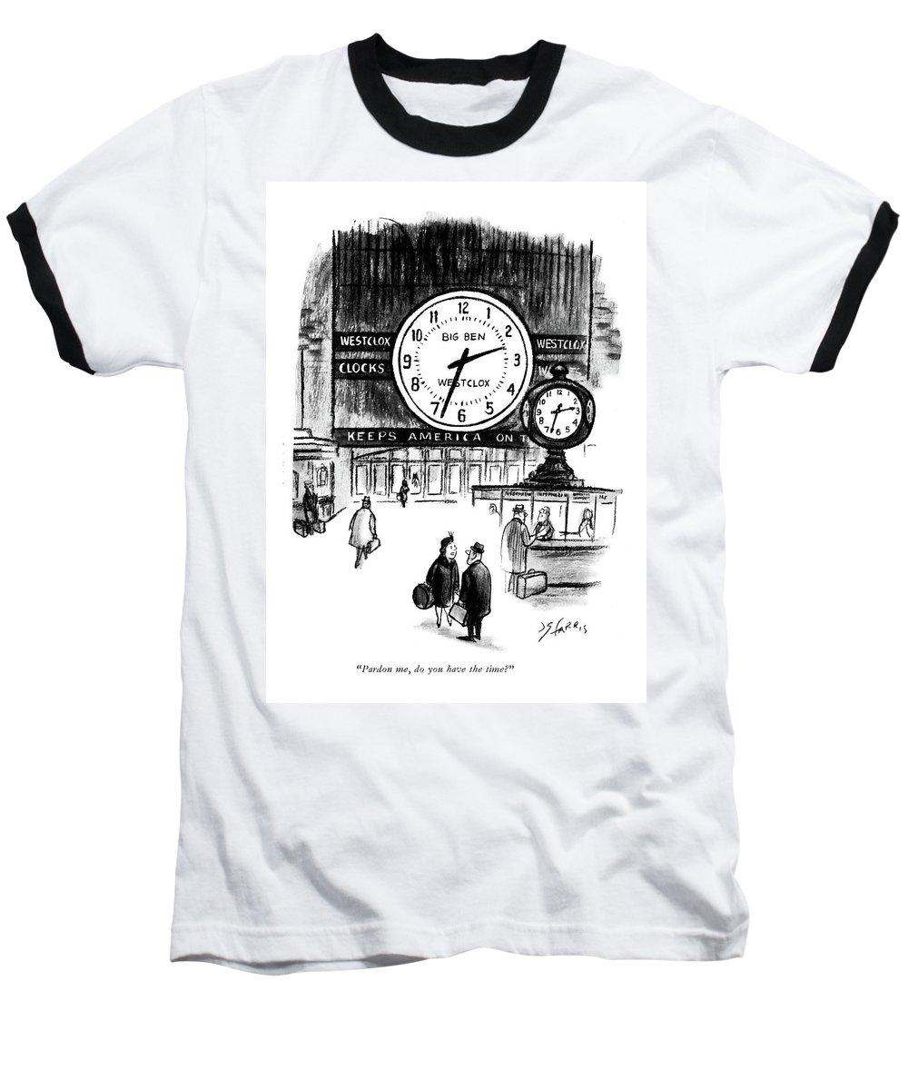 Lady To Man In Grand Central Station Baseball T-Shirt featuring the drawing Pardon Me, Do You Have The Time? by Joseph Farris