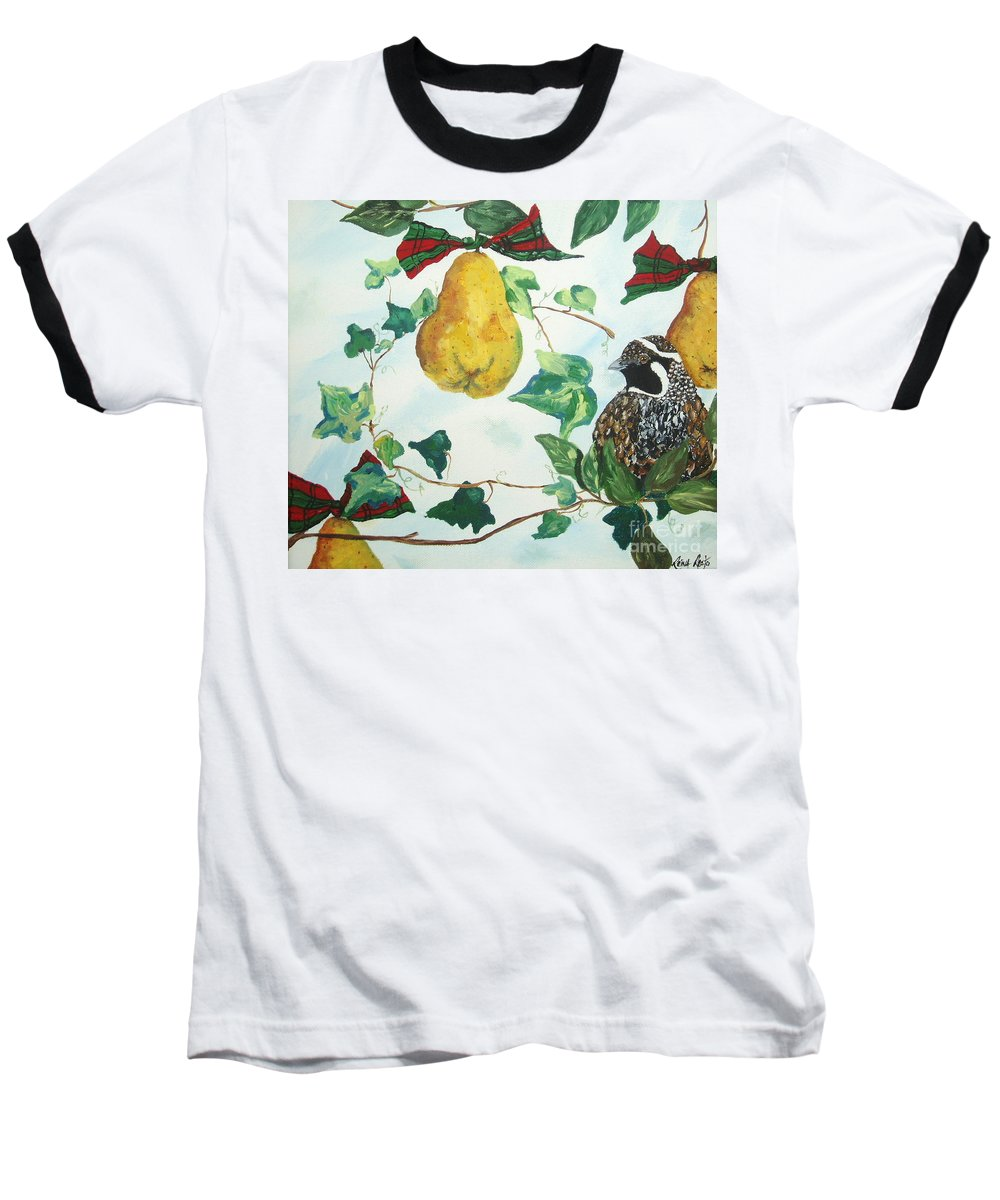 Tree Baseball T-Shirt featuring the painting Partridge And Pears by Reina Resto