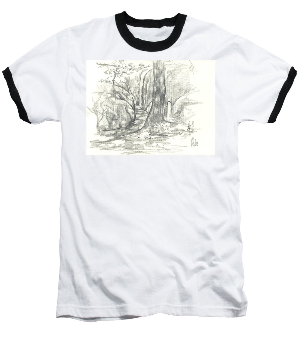 Passageway At Elephant Rocks Baseball T-Shirt featuring the drawing Passageway At Elephant Rocks by Kip DeVore
