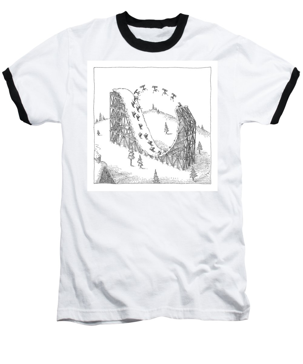 Skiing Baseball T-Shirt featuring the drawing People Ski On A Circular Ski Ramp That Resembles by John O'Brien