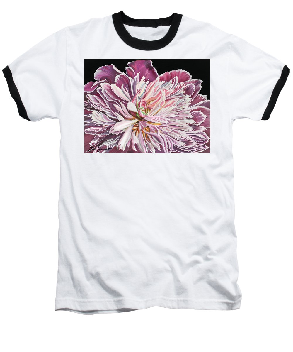 Flower Baseball T-Shirt featuring the painting Pink Peony by Jane Girardot