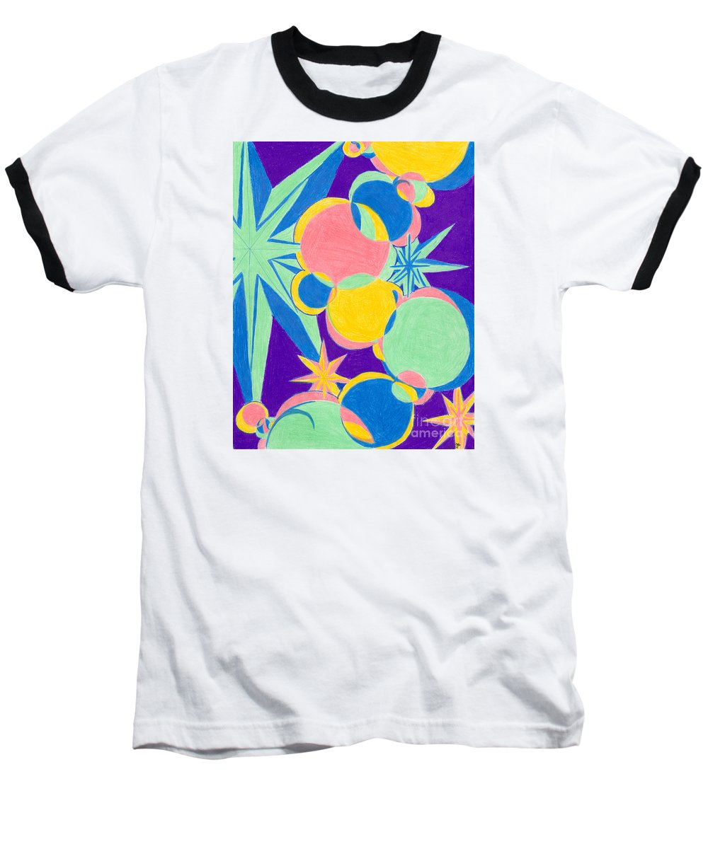 Color Baseball T-Shirt featuring the drawing Planets And Stars by Kim Sy Ok
