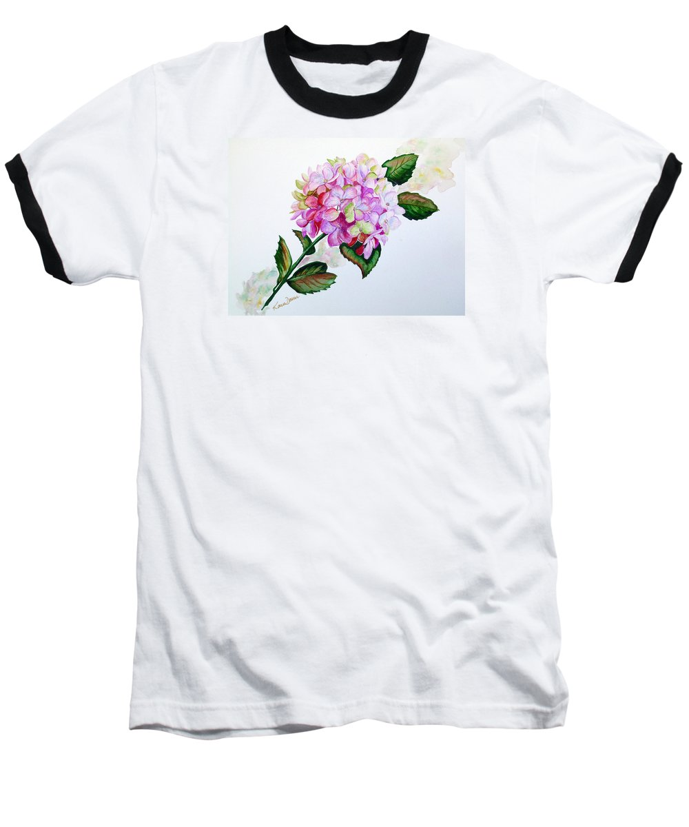 Hydrangea Painting Floral Painting Flower Pink Hydrangea Painting Botanical Painting Flower Painting Botanical Painting Greeting Card Painting Painting Baseball T-Shirt featuring the painting Pretty In Pink by Karin Dawn Kelshall- Best