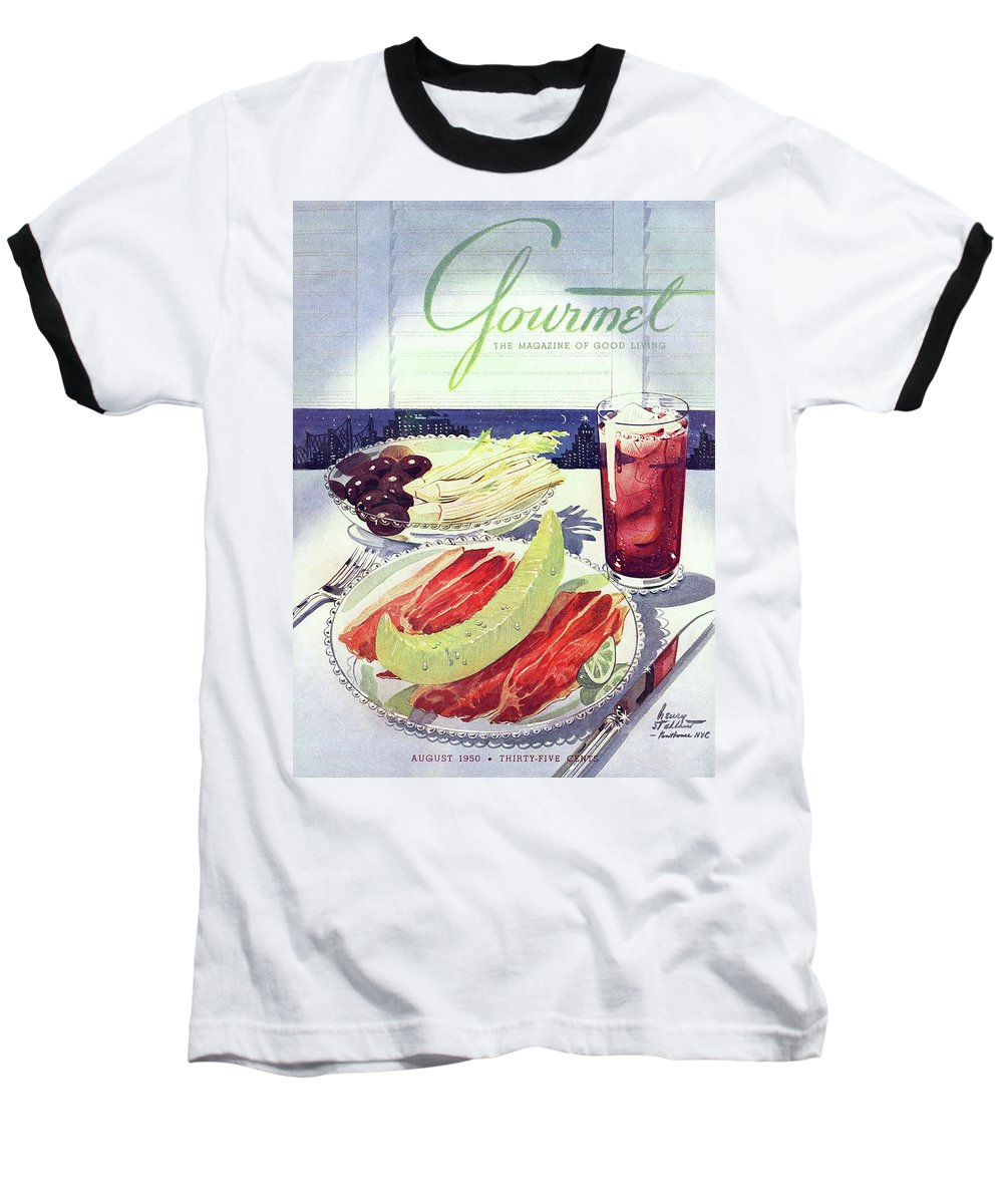 Food Baseball T-Shirt featuring the photograph Prosciutto, Melon, Olives, Celery And A Glass by Henry Stahlhut