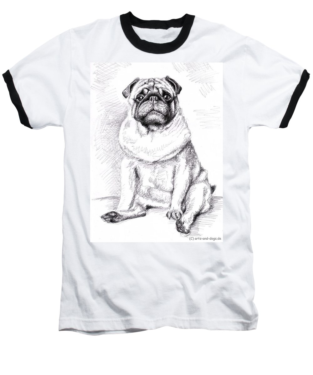 Dog Baseball T-Shirt featuring the drawing Pug Anton by Nicole Zeug