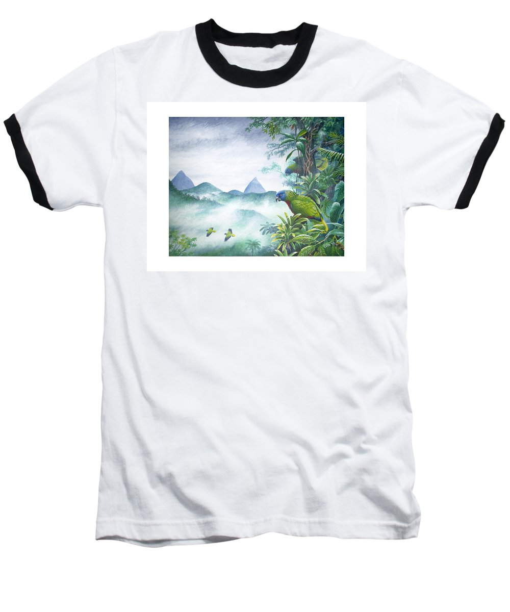 Chris Cox Baseball T-Shirt featuring the painting Rainforest Realm - St. Lucia Parrots by Christopher Cox