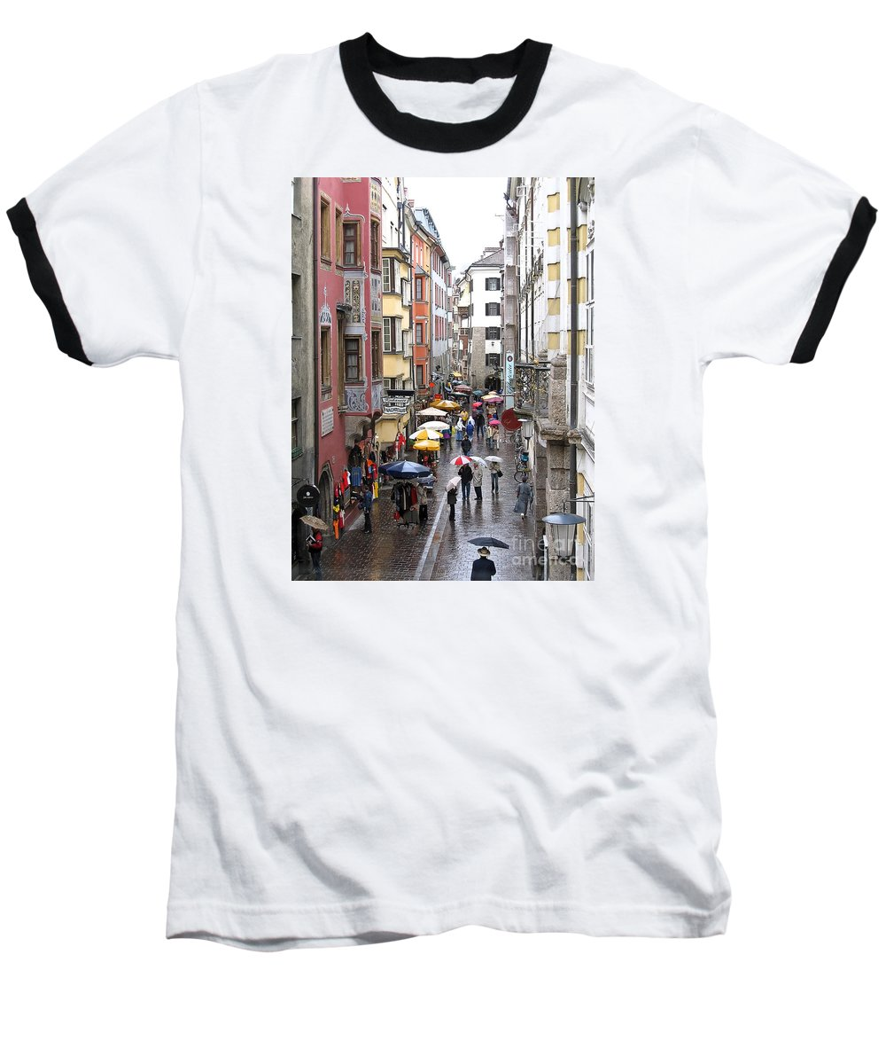 Innsbruck Baseball T-Shirt featuring the photograph Rainy Day Shopping by Ann Horn