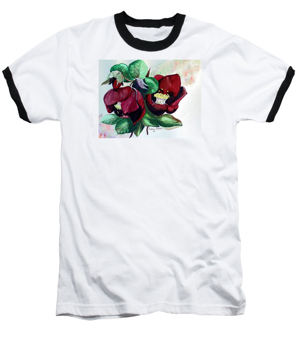 Red Helleborous Painting Flower Painting  Botanical Painting Watercolor Painting Original Painting Floral Painting Flower Painting Red Painting  Greeting Painting Baseball T-Shirt featuring the painting Red Helleborous by Karin Dawn Kelshall- Best