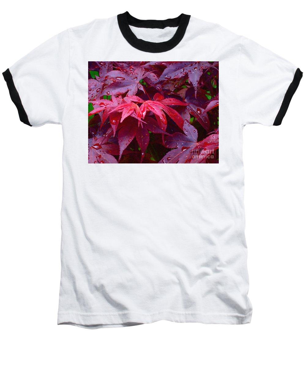 Rain Baseball T-Shirt featuring the photograph Red Maple After Rain by Ann Horn