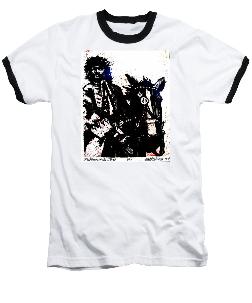 English Highwayman Baseball T-Shirt featuring the mixed media Rogue Of The Road by Seth Weaver