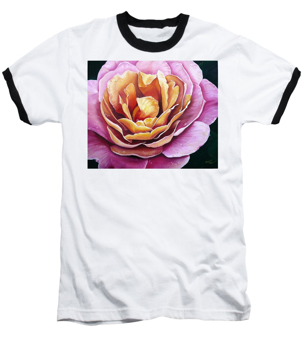 Rose Painting Pink Yellow Floral Painting Flower Bloom Botanical Painting Botanical Painting Baseball T-Shirt featuring the painting Rosy Dew by Karin Dawn Kelshall- Best