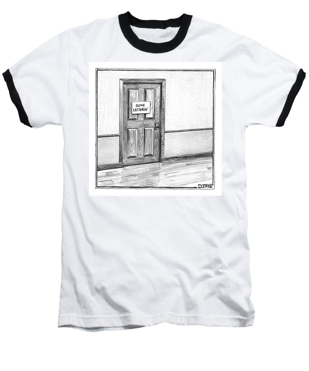 Captionless. Sign: . Baseball T-Shirt featuring the photograph Shut Door In A Hallway With A Sign That Read Gone by Matthew Diffee