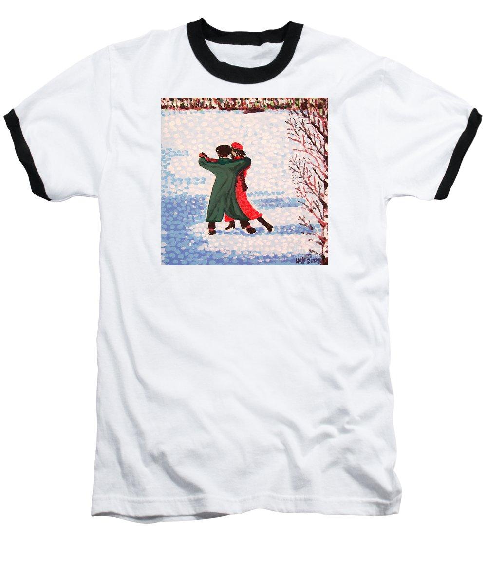 Snow Baseball T-Shirt featuring the painting Snow Tango by Alan Hogan