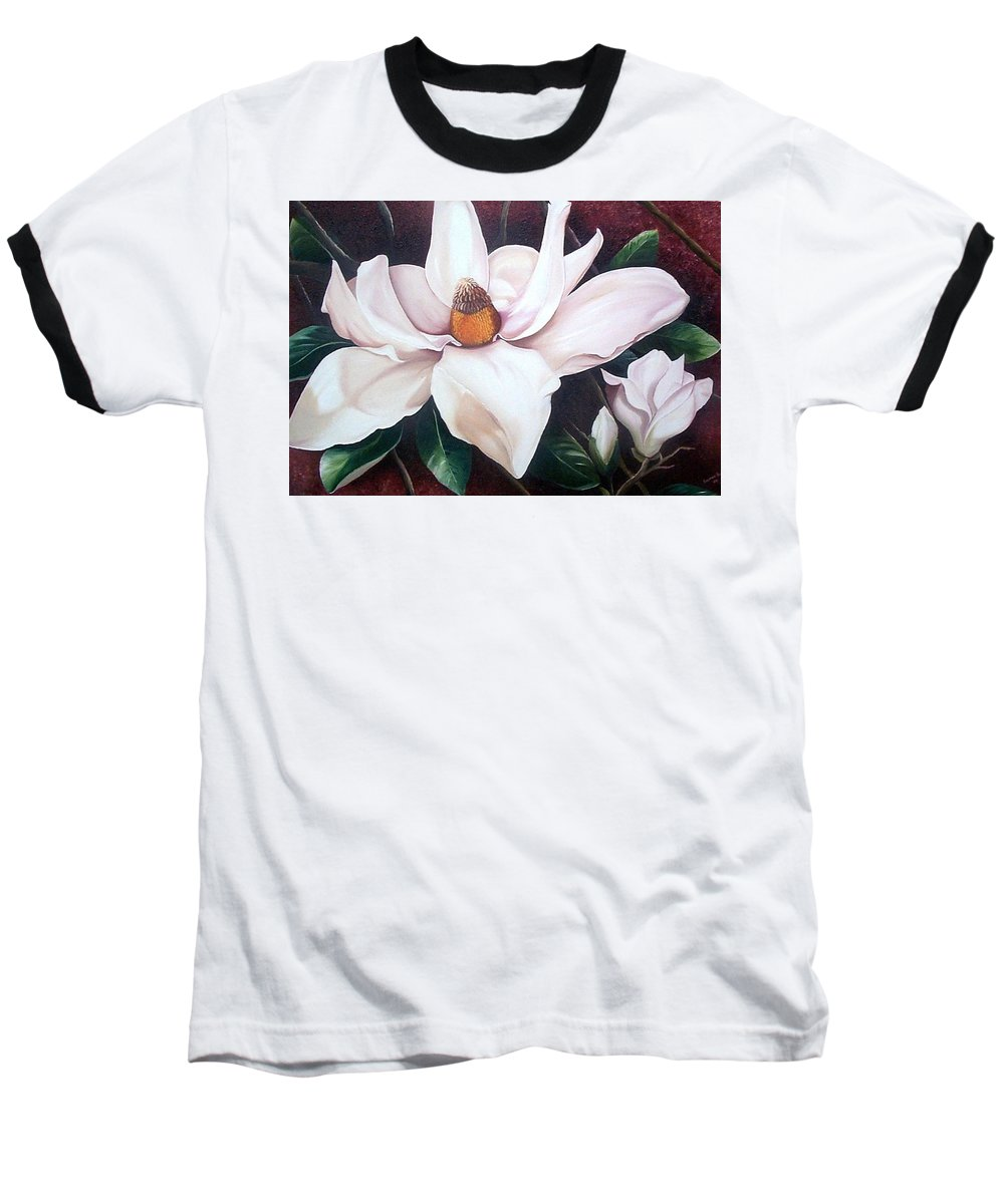 Magnolia Southern Bloom Floral Botanical White Baseball T-Shirt featuring the painting Southern Beauty by Karin Dawn Kelshall- Best