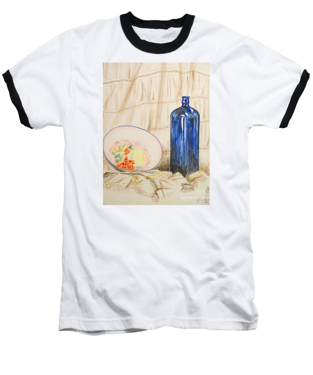 Still-life Baseball T-Shirt featuring the drawing Still-life With Blue Bottle by Alan Hogan