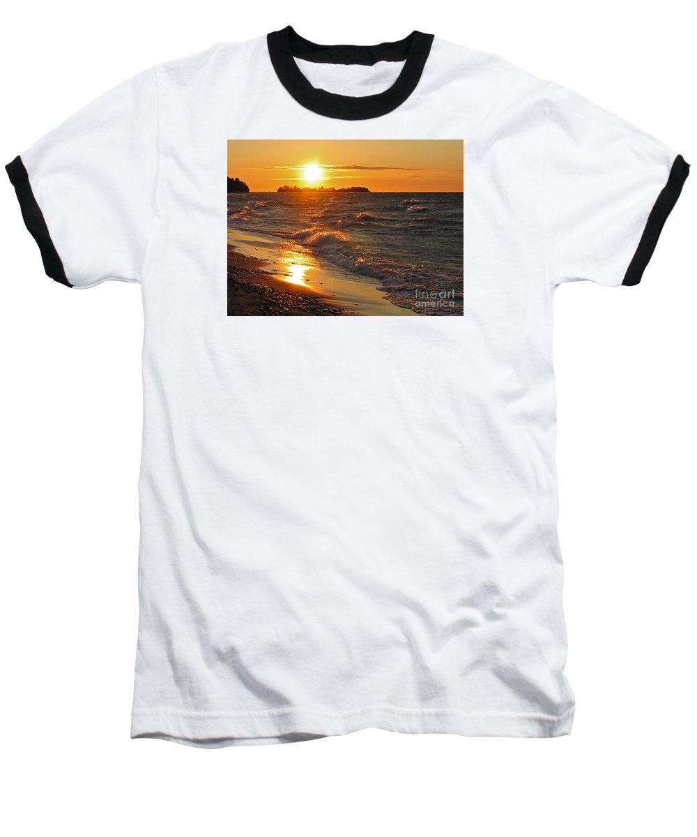 Sunset Baseball T-Shirt featuring the photograph Superior Sunset by Ann Horn