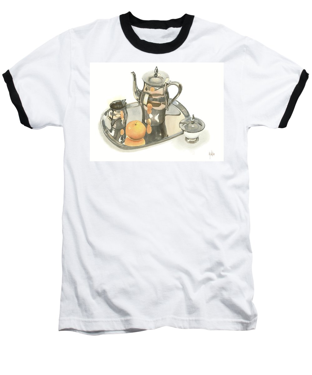 Tea Service With Orange Baseball T-Shirt featuring the painting Tea Service With Orange by Kip DeVore