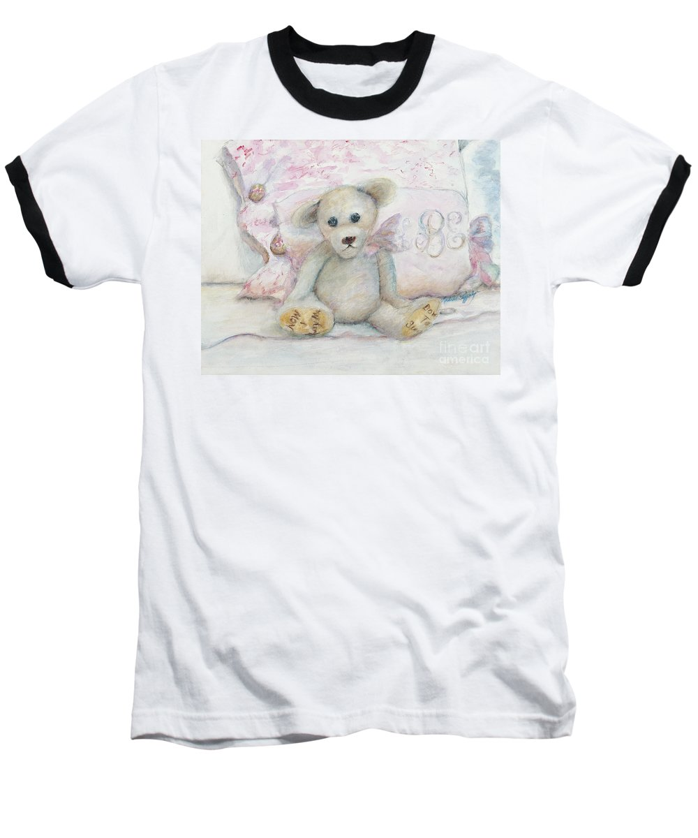 Teddy Bear Baseball T-Shirt featuring the painting Teddy Friend by Nadine Rippelmeyer