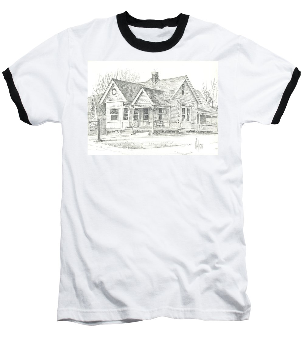 The Antique Shop Baseball T-Shirt featuring the drawing The Antique Shop by Kip DeVore