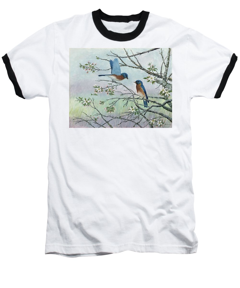 Bluebirds; Trees; Wildlife Baseball T-Shirt featuring the painting The Gift by Ben Kiger