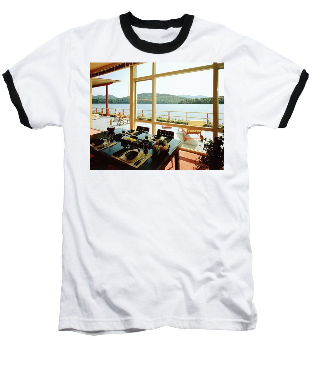 Indoors Baseball T-Shirt featuring the photograph The House Of Mr. And Mrs. Alfred Rose On Lake by Robert M. Damora