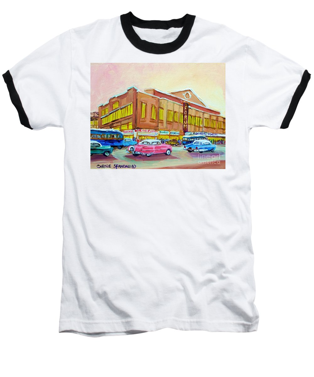 Montreal Baseball T-Shirt featuring the painting The Montreal Forum by Carole Spandau