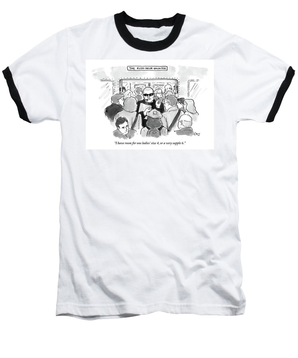 Rush Hour Baseball T-Shirt featuring the drawing The Rush Hour Bouncer by Carolita Johnson