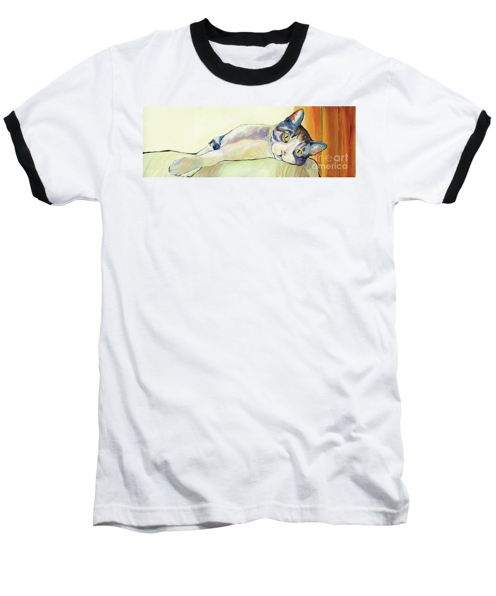 Pat Saunders-white Canvas Prints Baseball T-Shirt featuring the painting The Sunbather by Pat Saunders-White