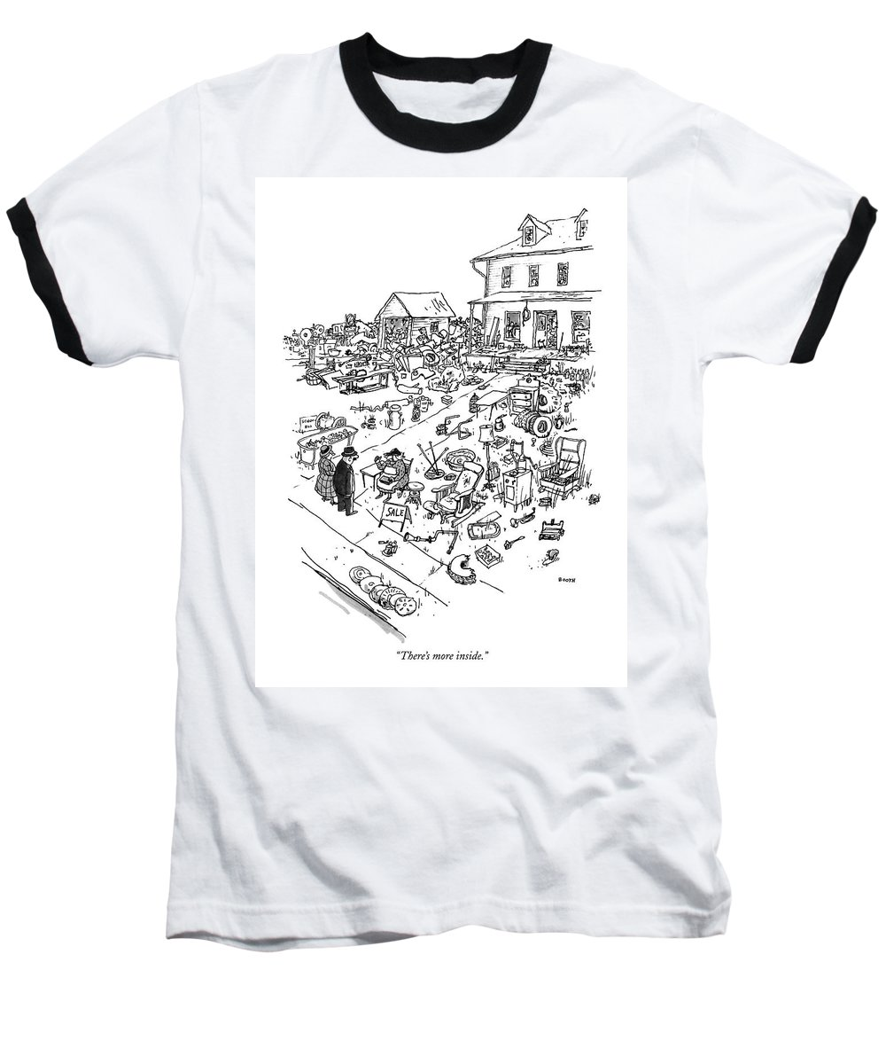 Consumerism Baseball T-Shirt featuring the drawing There's More Inside by George Booth