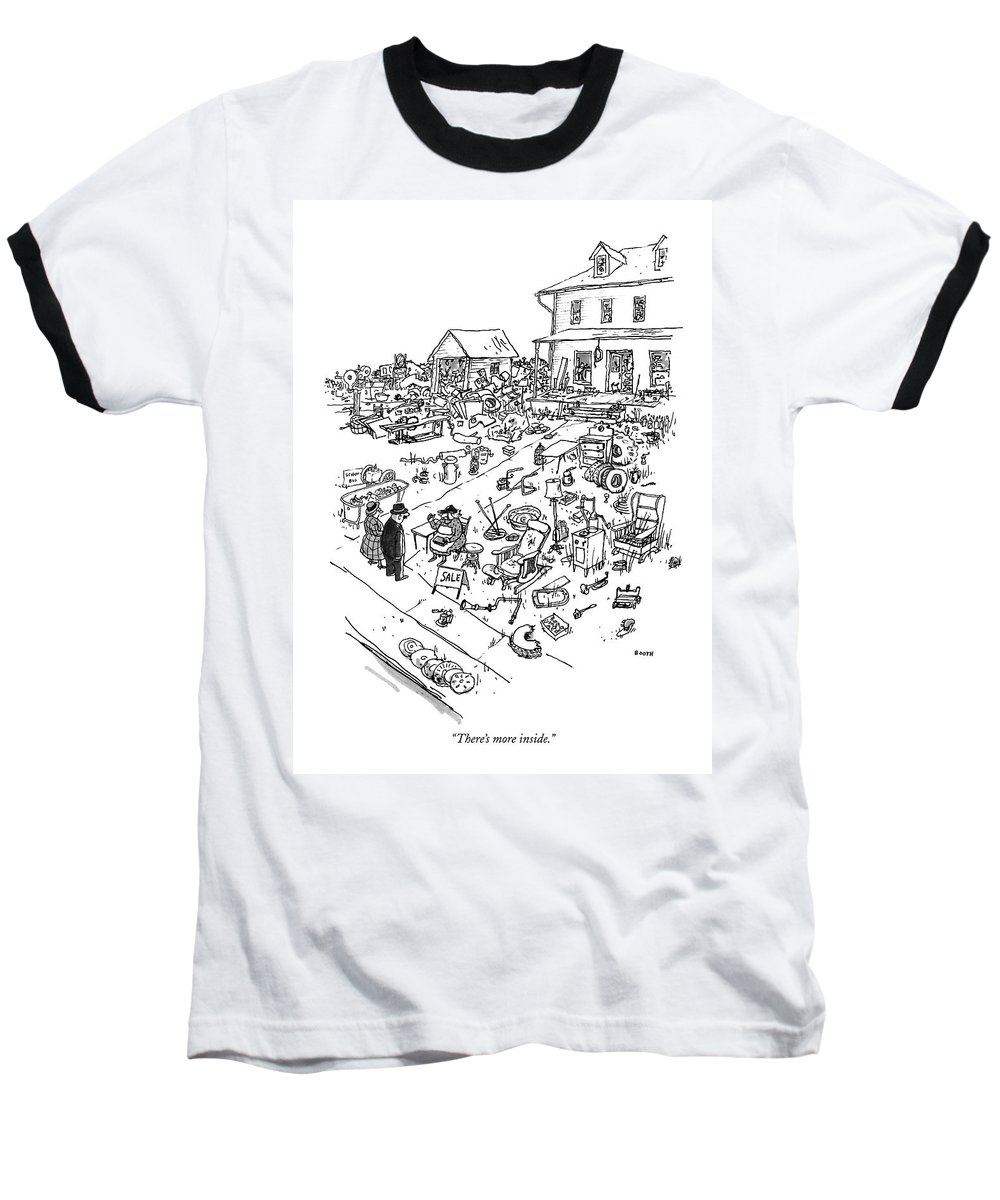 Woman To Couple In Front Of Her House Baseball T-Shirt featuring the drawing There's More Inside by George Booth