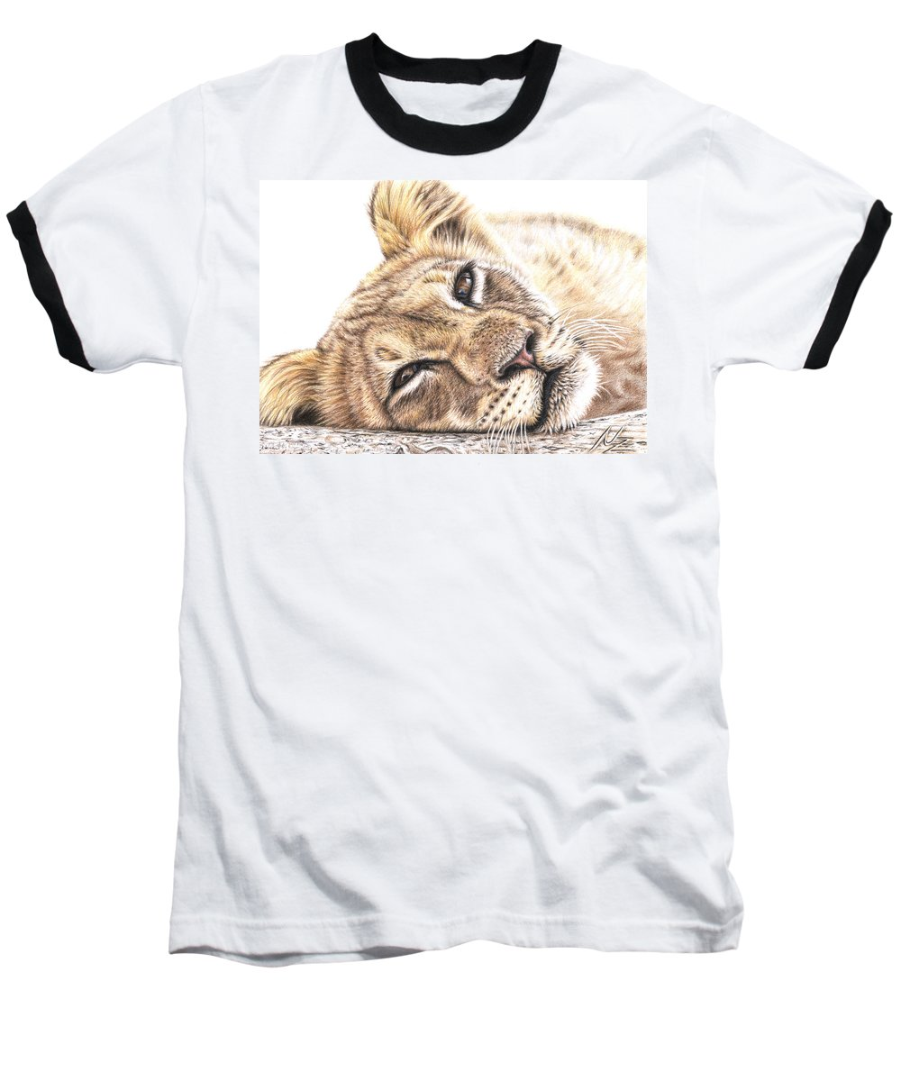 Lion Baseball T-Shirt featuring the drawing Tired Young Lion by Nicole Zeug
