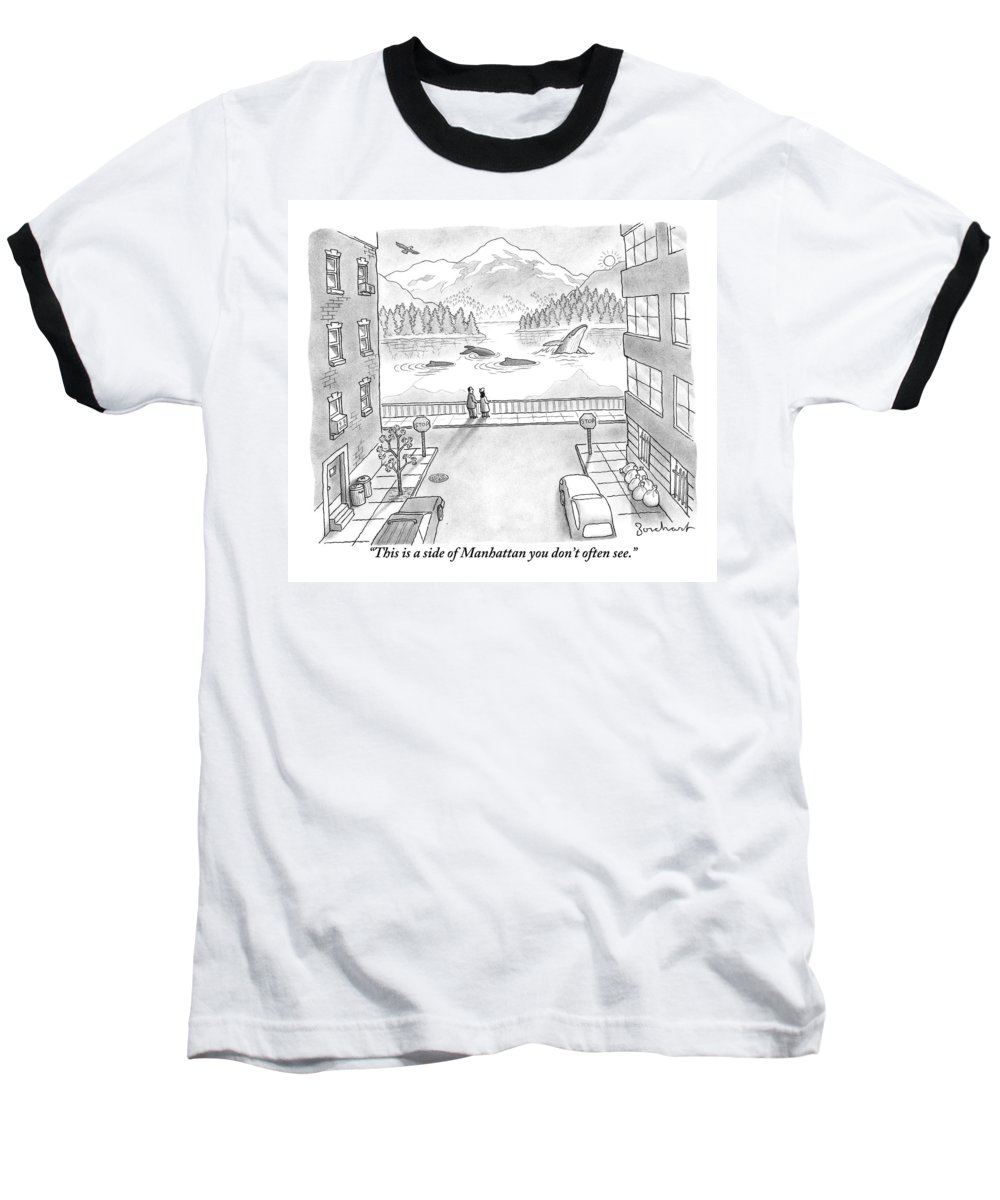 New York Baseball T-Shirt featuring the drawing Two People In Manhattan Gaze Out At A Spectacular by David Borchart