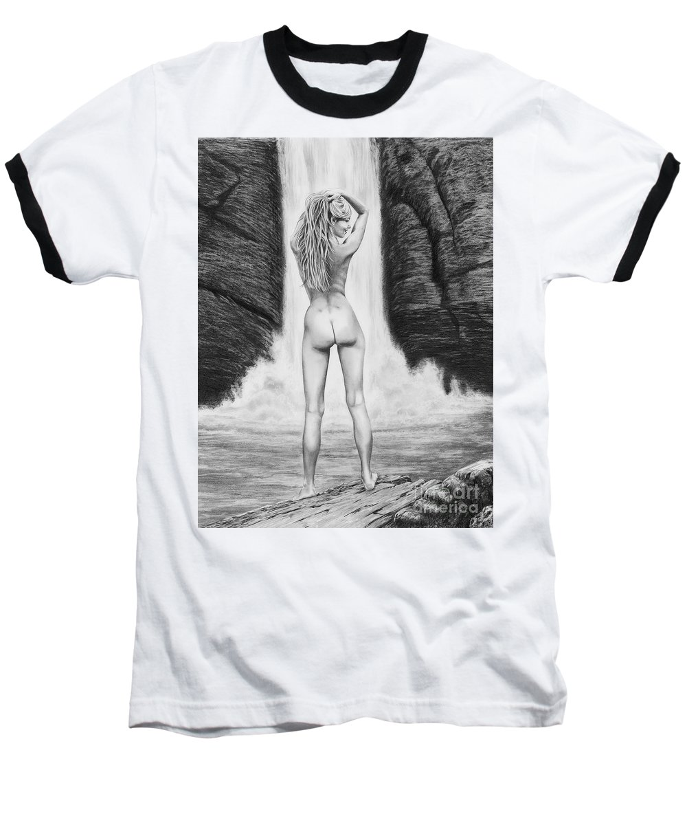 Waterfall Baseball T-Shirt featuring the drawing Waterfall Pin Up Girl by Murphy Elliott