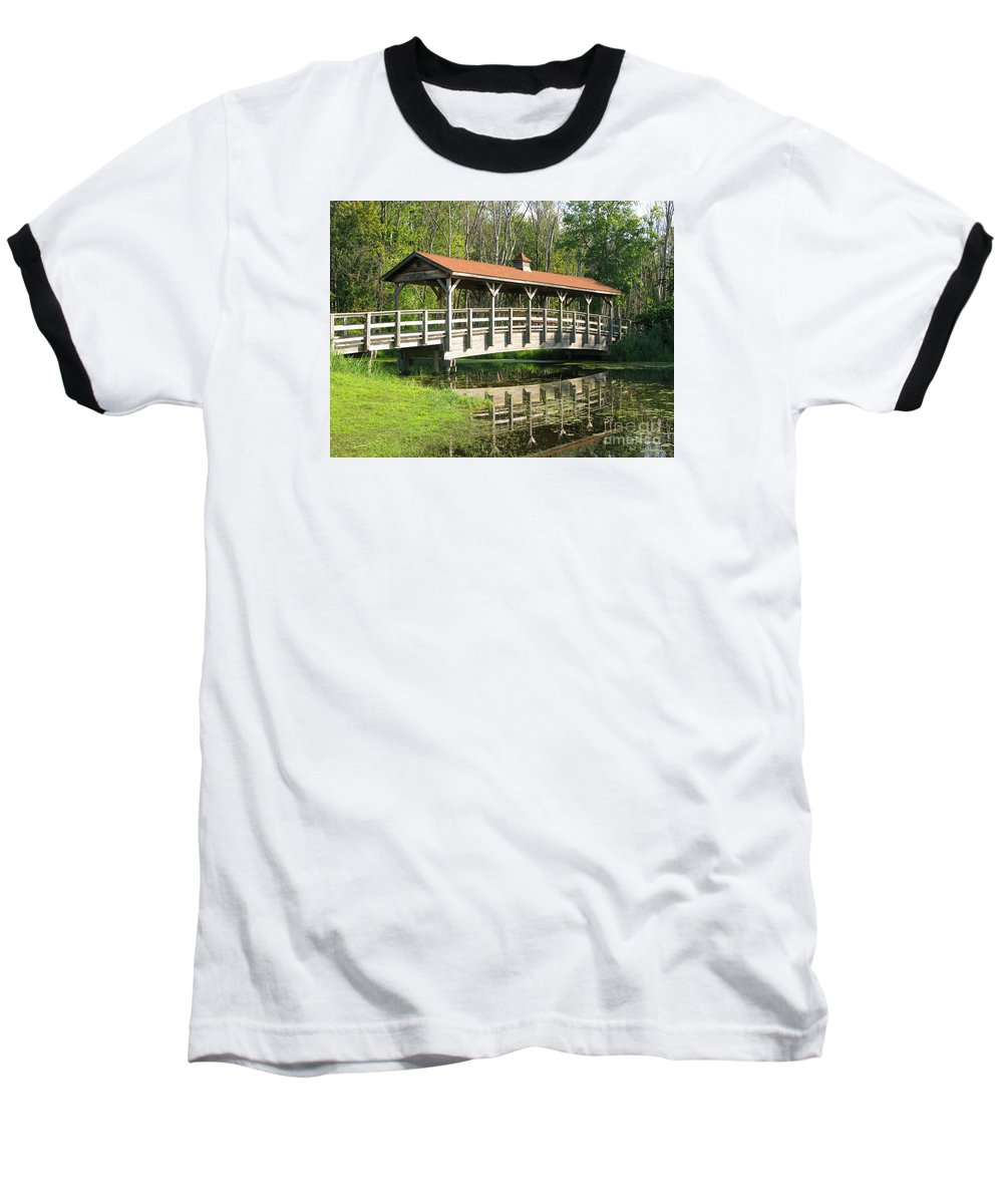 Bridge Baseball T-Shirt featuring the photograph Wetland Footbridge by Ann Horn
