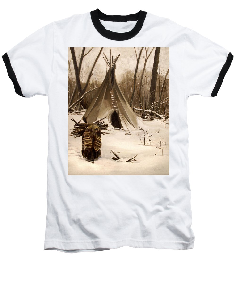Native American Baseball T-Shirt featuring the painting Wood Gatherer by Nancy Griswold