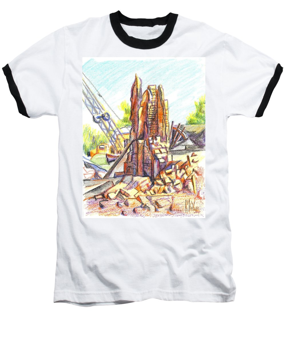 Wrecking Ball Baseball T-Shirt featuring the painting Wrecking Ball by Kip DeVore