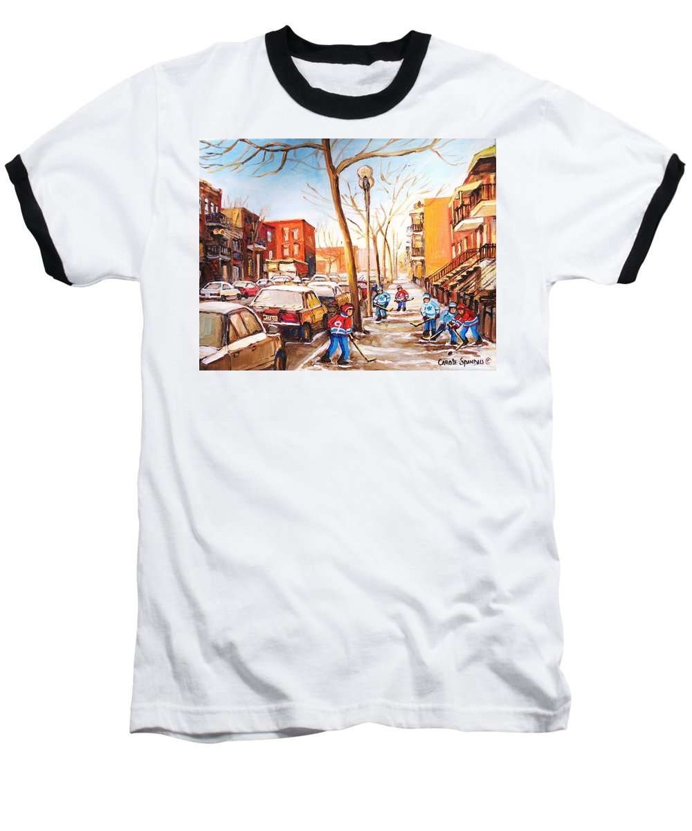 Montreal Street Scene With Boys Playing Hockey Baseball T-Shirt featuring the painting Montreal Street With Six Boys Playing Hockey by Carole Spandau