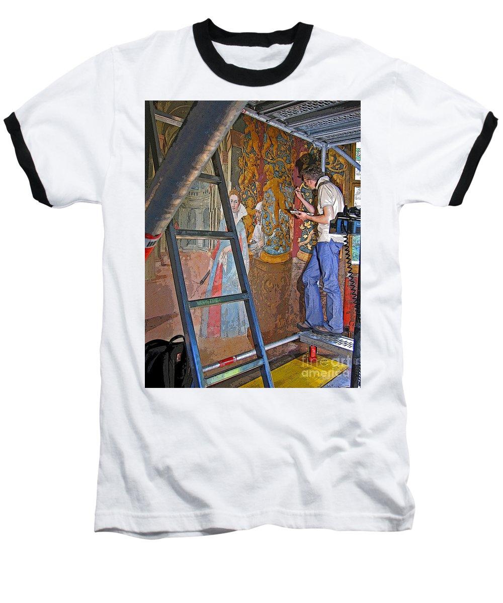 Art Baseball T-Shirt featuring the photograph Restoring Art by Ann Horn