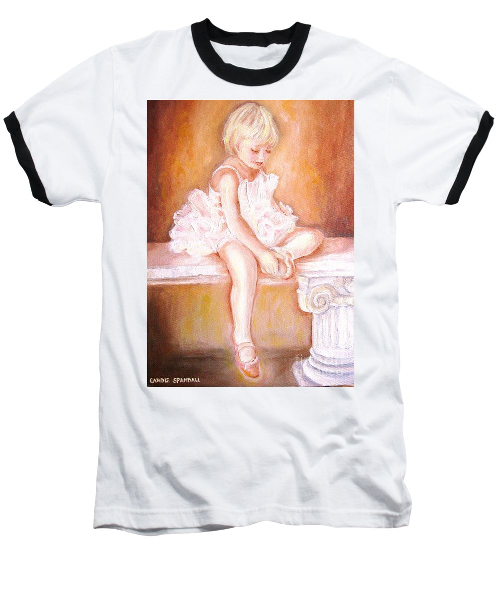 Ballerinas Baseball T-Shirt featuring the painting The Little Ballerina by Carole Spandau