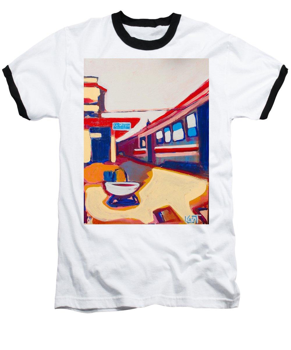 Train Station Baseball T-Shirt featuring the painting Locale by Kurt Hausmann