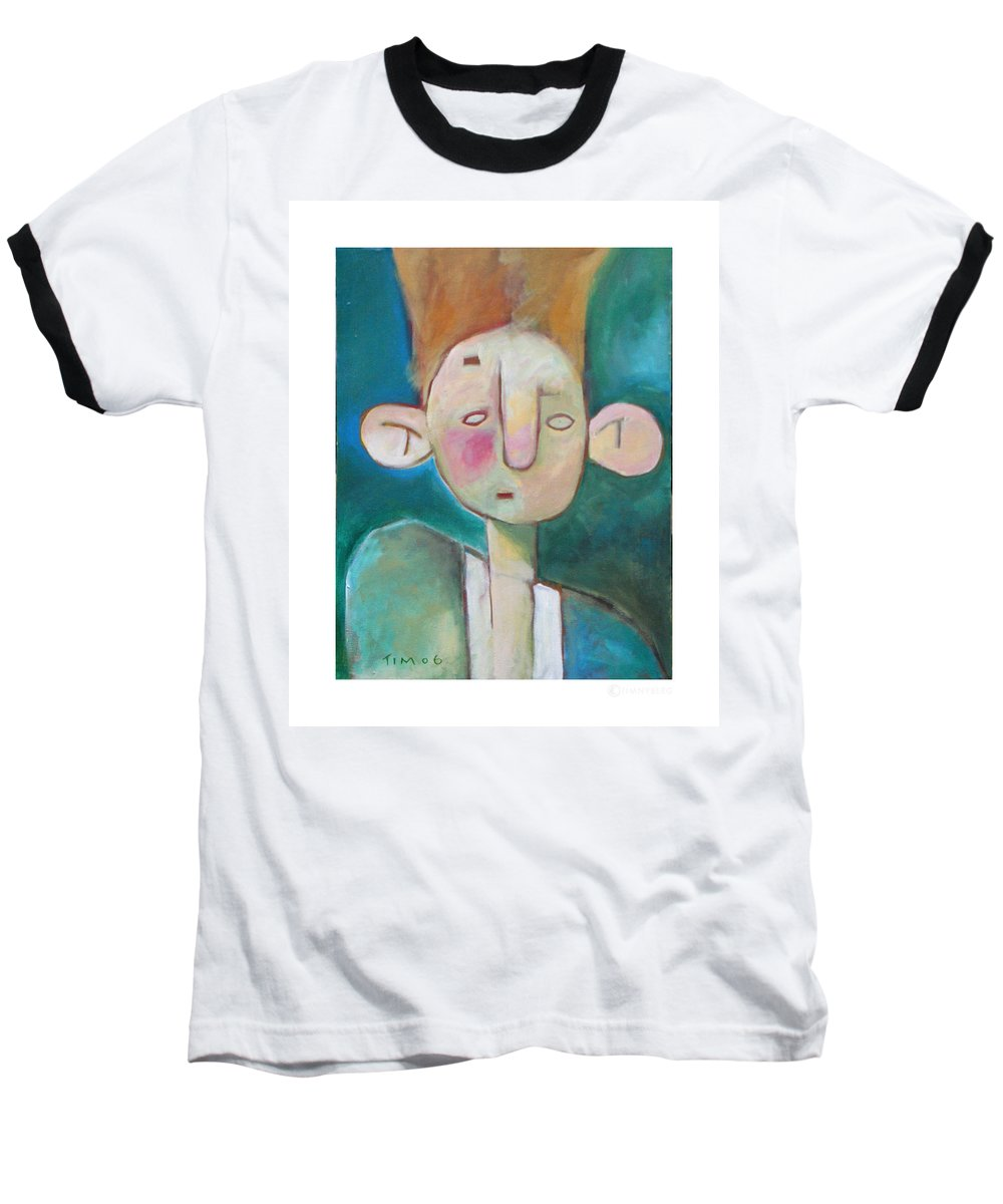 Funny Baseball T-Shirt featuring the painting Bad Hair Life by Tim Nyberg