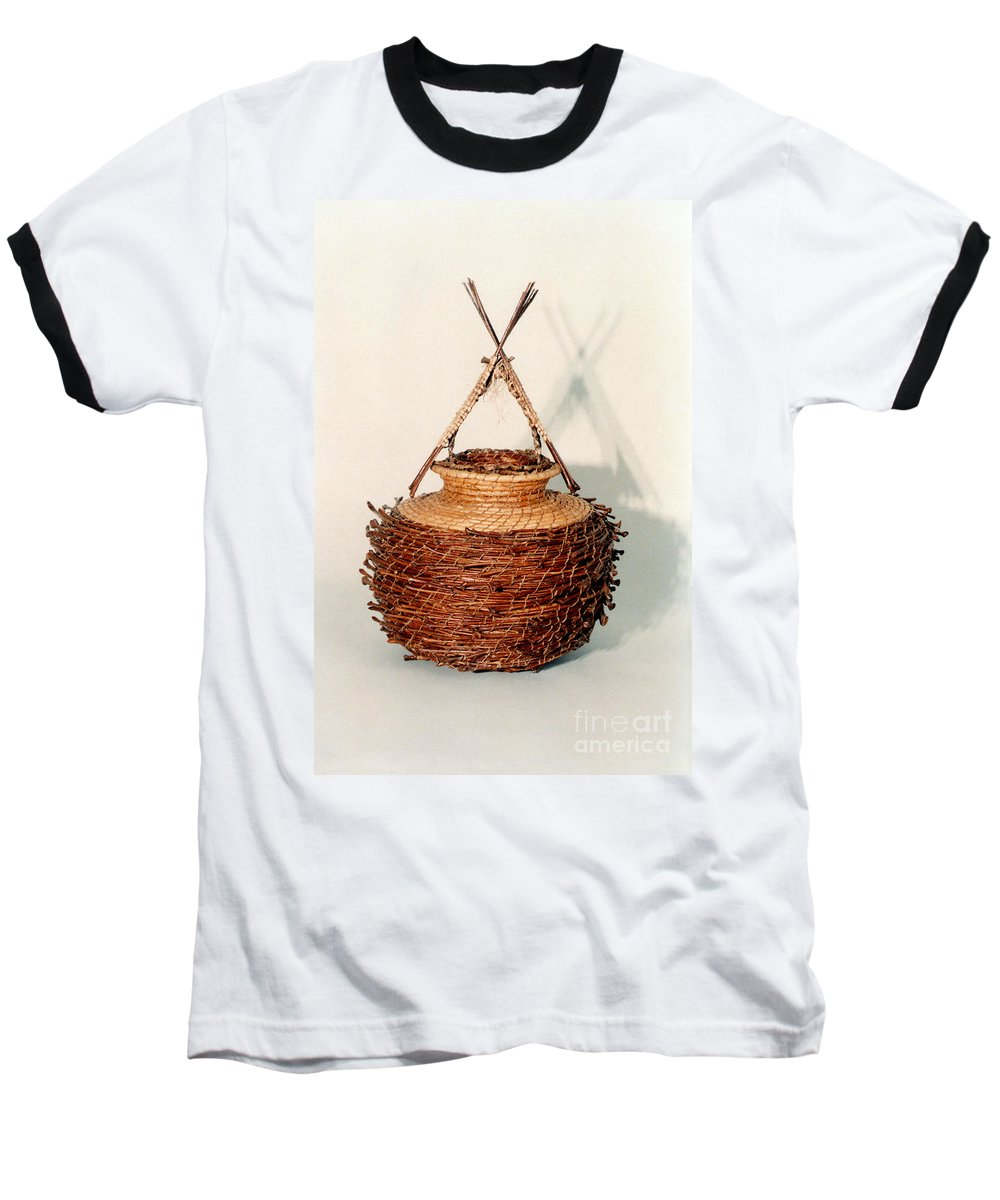 Fibre Baseball T-Shirt featuring the mixed media Bound And Unified In Contrast by Kerryn Madsen-Pietsch