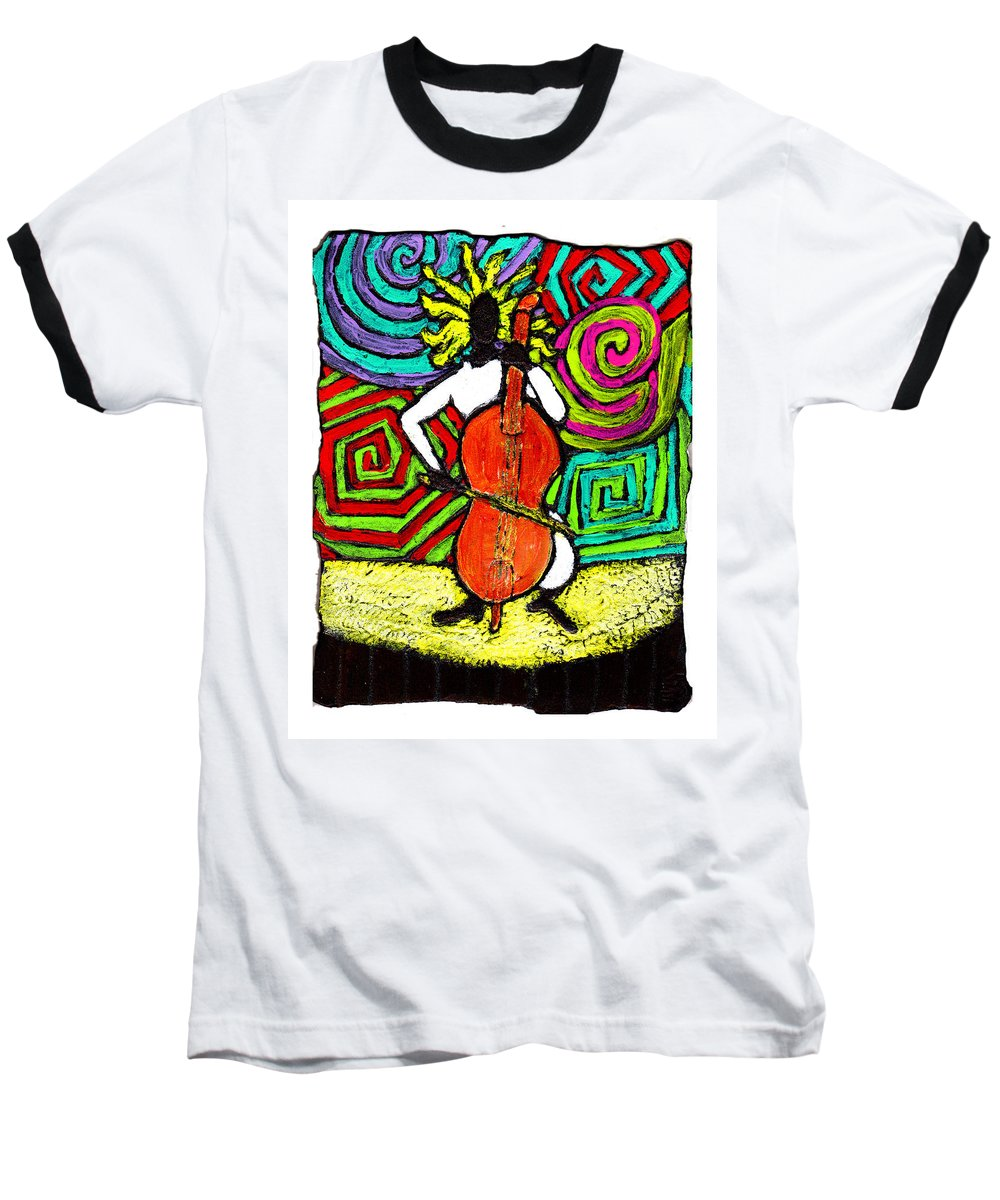 Music Baseball T-Shirt featuring the painting Cello Soloist by Wayne Potrafka