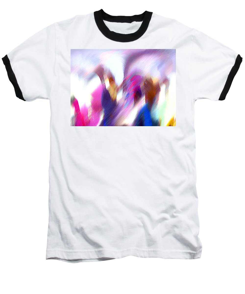 Digital Media Baseball T-Shirt featuring the painting Color Dance by Anil Nene