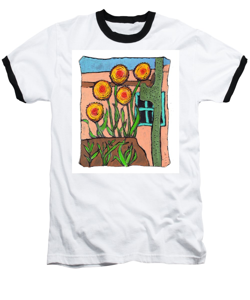 Desert Baseball T-Shirt featuring the painting Desert Fantasy by Wayne Potrafka
