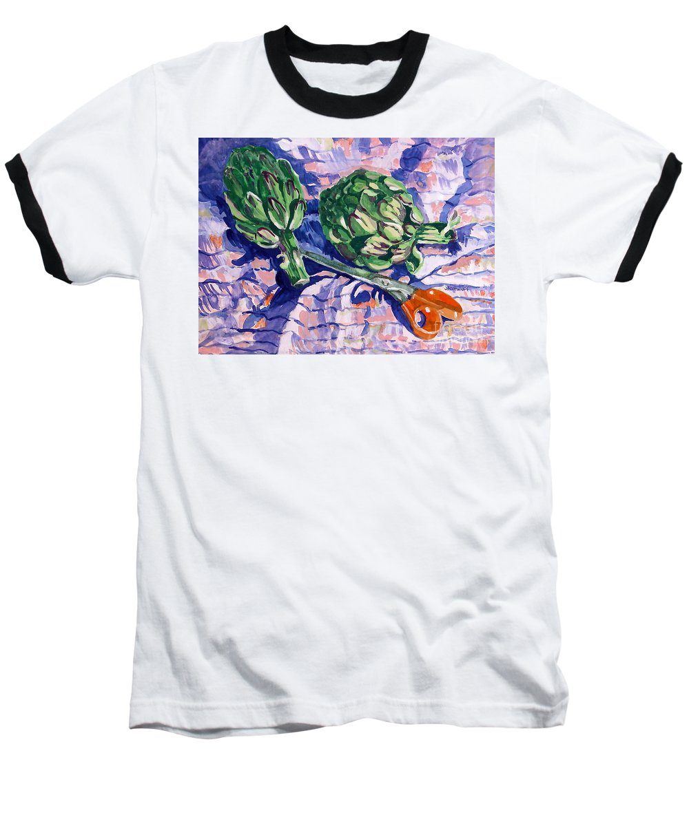 Greens Baseball T-Shirt featuring the painting Edible Flowers by Jan Bennicoff