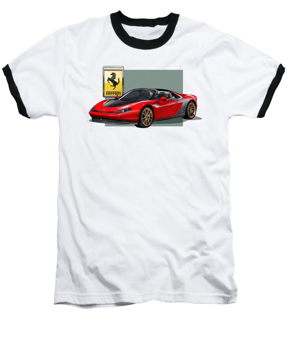 �ferrari� Collection By Serge Averbukh Baseball T-Shirt featuring the photograph Ferrari Sergio With 3d Badge by Serge Averbukh