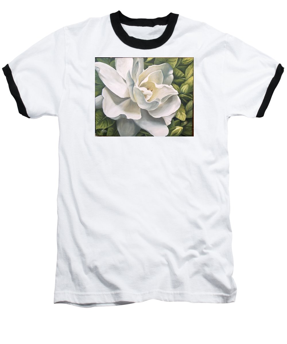 Flower Baseball T-Shirt featuring the painting Gardenia by Natalia Tejera