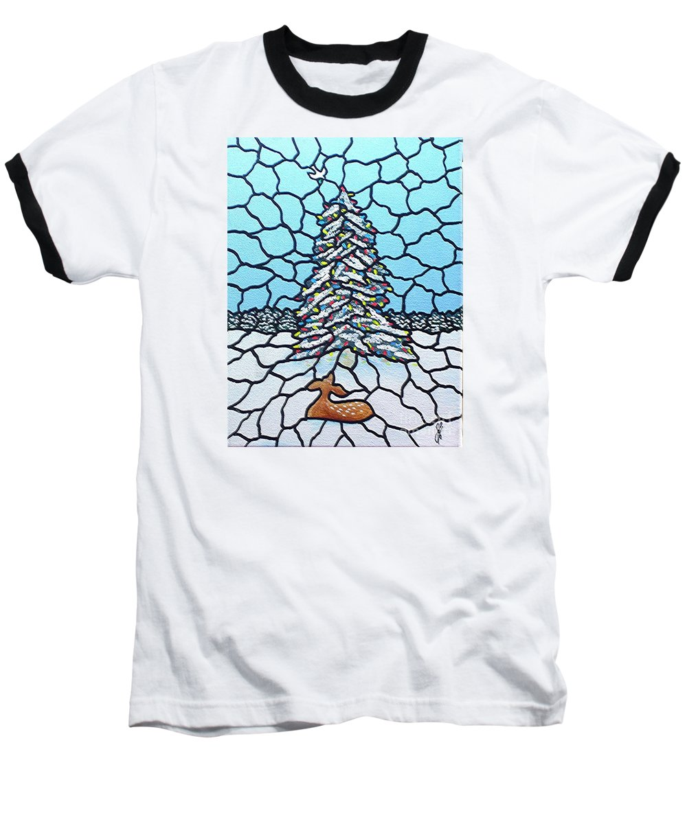 Peace Baseball T-Shirt featuring the painting Let There Be Peace by Jim Harris
